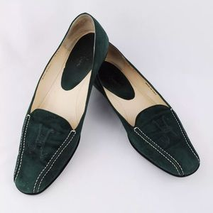 Cole Haan Green Suede Bicycle Toe Flats Loafers